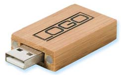 USB 2.0 Rectangle Bamboo Flash Drive GB (4GB)