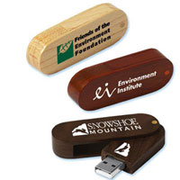 Eco Swing Wood Oblong Flash Drive GW (4GB)