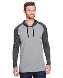 LAT Men's Hooded Raglan Long Sleeve Fine Jersey T-Shirt