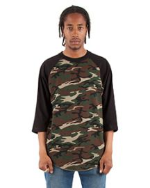 Shaka Wear Adult 6-ounce., 3/4-Sleeve Camo Raglan T-Shirt